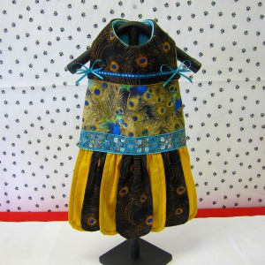 Gold, Brown, & Teal Peacock Pattern Pet Dress
